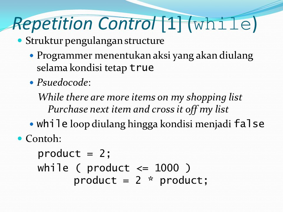 Repetition Control [1] (while)